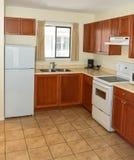 Piccola cucina con i gabinetti, il frigorifero e la cucina elettrica di legno fotografia stock