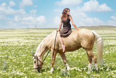 Piccola donna su un grande cavallo Fotografie Stock Libere da Diritti