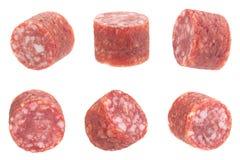 Piccola fetta della salsiccia del salame Fotografia Stock Libera da Diritti