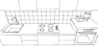 Piccola fine del contatore di cucina su Fotografia Stock