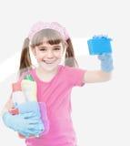 Piccola finestra divertente di pulizia della casalinga Immagine Stock