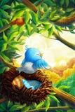 Piccola foresta dell'uccello di mattina con stile fantastico, realistico e del fumetto fotografie stock