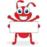 Piccola formica rossa sveglia con il segno in bianco Fotografia Stock Libera da Diritti