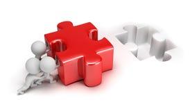 piccola gente 3d che spinge puzzle Immagini Stock