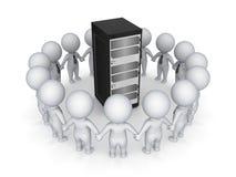 piccola gente 3d intorno al server. Fotografie Stock