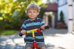 Piccola guida del ragazzo del bambino sulla sua bicicletta di estate. Immagini Stock