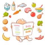 Piccola guida dell'alimento della lettura del bambino Fotografia Stock