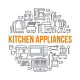 Piccola illustrazione dell'insegna dell'attrezzatura degli apparecchi della cucina Vector la linea icona di famiglia che cucina g Fotografie Stock Libere da Diritti