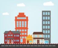 Piccola illustrazione della città con stile piano Fotografia Stock