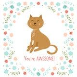 Piccola illustrazione sveglia di vettore del gatto Immagine Stock Libera da Diritti