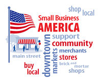 Piccola impresa America, bandiera di U.S.A. Fotografie Stock