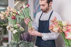 Piccola impresa Fiorista maschio nel negozio di fiore Studio di progettazione floreale, prendendo le decorazioni ed accordi immagine stock libera da diritti