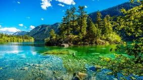 Piccola isola in mezzo alle acque cristalline del lago pavilion nel parco provinciale del canyon di marmo, Columbia Britannica fotografia stock