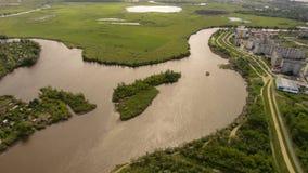 piccola isola nel fiume Fotografia Stock