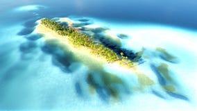 Piccola isola tropicale nell'atollo delle Maldive dalla rappresentazione di vista aerea 3d Immagini Stock Libere da Diritti