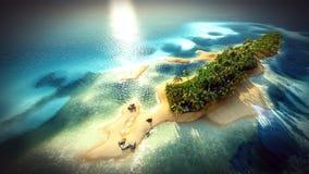 Piccola isola tropicale nell'atollo delle Maldive dalla rappresentazione di vista aerea 3d Fotografia Stock Libera da Diritti