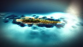 Piccola isola tropicale nell'atollo delle Maldive dalla rappresentazione di vista aerea 3d Fotografie Stock Libere da Diritti