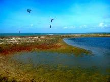 Piccola laguna variopinta nello Sri Lanka con gli aquiloni nel fondo immagine stock