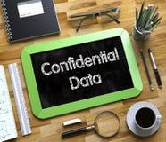 Piccola lavagna con i dati confidenziali 3d illustrazione di stock