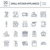 Piccola linea icone degli apparecchi della cucina Famiglia che cucina i segni degli strumenti Attrezzatura della preparazione di  illustrazione di stock