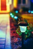 Piccola luce solare del giardino, lanterna nel letto di fiore Fotografie Stock