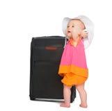 Piccola neonata con la valigia del bagaglio Fotografia Stock Libera da Diritti