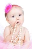Piccola neonata della principessa con gli accessori Immagine Stock