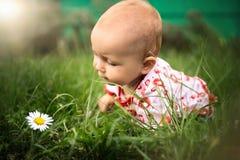 Piccola neonata sull'erba Fotografie Stock
