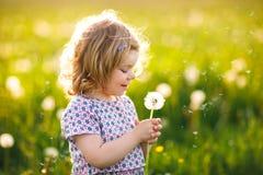 Piccola neonata sveglia adorabile che soffia su un fiore del dente di leone sulla natura di estate Bello sano felice fotografie stock