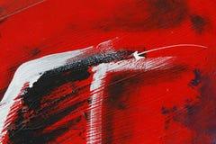 Piccola parte della parete dipinta del metallo con pittura nera, rossa e bianca Immagini Stock Libere da Diritti