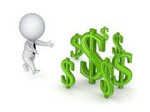 piccola persona 3d che funziona ai segni del dollaro. Immagini Stock Libere da Diritti