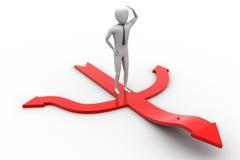 piccola persona 3d che sta sulle frecce rosse Illustrazione Vettoriale