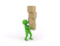 piccola persona 3d che tiene una certa pila pesante di scatole di cartone Immagini Stock Libere da Diritti