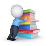 piccola persona 3d e grande pila di libri. Immagine Stock