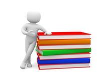 piccola persona 3d e grande pila di libri variopinti Isolato su briciolo Immagini Stock Libere da Diritti