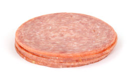Piccola pila di salame di Genova immagine stock libera da diritti