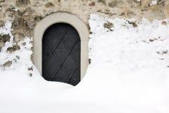 Piccola porta del ferro del castello Fotografia Stock