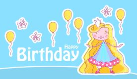 Piccola principessa felice Birthday Card Template con i palloni ed i fiori Illustrazione di vettore Fotografia Stock Libera da Diritti