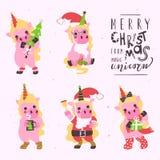 Piccola raccolta sveglia di Natale degli unicorni Fotografie Stock