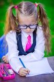 Piccola ragazza abile della scuola allo scrittorio con le note e Fotografia Stock Libera da Diritti