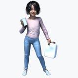 Piccola ragazza asiatica che tiene tazza e contatiner 1 Fotografie Stock Libere da Diritti