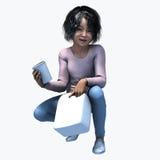 Piccola ragazza asiatica che tiene tazza e contatiner 3 Fotografia Stock