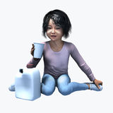 Piccola ragazza asiatica che tiene tazza e contatiner 5 Fotografie Stock