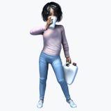 Piccola ragazza asiatica che tiene tazza e contatiner 2 Fotografia Stock Libera da Diritti