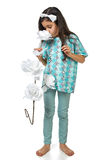 Piccola ragazza castana in pidjama dei pigiami izolated Immagini Stock Libere da Diritti