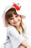 Piccola ragazza caucasica sveglia in un cappello Fotografia Stock Libera da Diritti