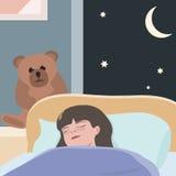 Piccola ragazza che dorme alla notte Immagini Stock