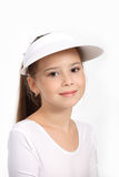 Piccola ragazza che gioca tennis fotografia stock