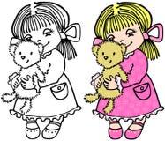 Piccola ragazza con l'orso Fotografia Stock