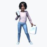Piccola ragazza nera che tiene tazza e contatiner 1 Fotografia Stock